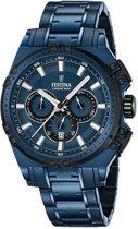 Festina F16973/1 Chrono Bike Special Edition Chronograaf - Horloge- Staal - Blauw - 44 mm