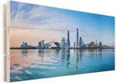 Kleurrijke foto van Guangzhou Vurenhout met planken 80x40 cm - Foto print op Hout (Wanddecoratie)