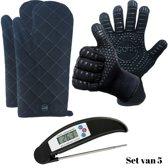 Set van 2 BBQ Handschoenen (Kevlar-Aramide), 2 Canvas Ovenwanten en 1 Zwarte Inklapbare Vleesthermometer