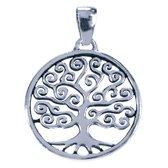 Zilveren Levensboom in cirkel ketting hanger