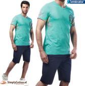 Embrator Huispak / Zomerset / Shortama 2-delig shirt&short zeegroen maat L