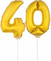 Gouden opblaas cijfer 40 op stokjes - verjaardag versiering / jaar