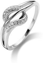 Twice As Nice ring in zilver, abstract motief gezet met zirkonia Wit 62