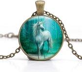 Ketting brons | witte eenhoorn