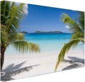 Tropische palmen op het strand Canvas 180x120 cm - Foto print op Canvas schilderij (Wanddecoratie woonkamer / slaapkamer) XXL / Groot formaat! / Zee en Strand