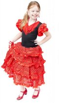 Spaanse jurk - Flamenco - Rood/Zwart - Maat 116/122 (8) - Verkleed jurk
