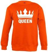 Oranje Koningsdag Queen sweater kinderen - Oranje Koningsdag kleding 7-8 jaar (122/128)