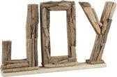 relaxdays decoratieve belettering JOY - drijfhout decoratie - tafeldecoratie staand - hout