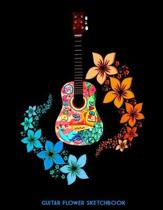 Guitar Flower Sketchbook: Practice Drawing, Paint, Write, Doodle, 8.5 x 11 Large Blank Pages: Notes Sketching Pad, Creative Diary and Journal, A