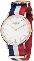 Chronostar PREPPY horloge, rosékleurig met blauw-wit-rode band