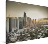Zonsopkomst in Manila Canvas 30x20 cm - klein - Foto print op Canvas schilderij (Wanddecoratie woonkamer / slaapkamer) / Aziatische steden Canvas Schilderijen