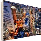 Nacht in de stad Osaka in Japan Vurenhout met planken 30x20 cm - klein - Foto print op Hout (Wanddecoratie)