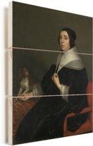 Portret van een vrouw - Schilderij van Gerard van Honthorst Vurenhout met planken 60x80 cm - Foto print op Hout (Wanddecoratie)