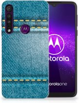 Motorola One Macro Silicone Back Cover Jeans