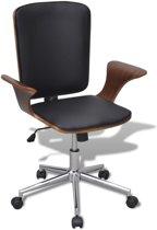 vidaXL Bureaustoel van gebogen hout met kunstleren bekleding draaibaar