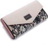 Trendy Dames Portemonnee - Clutch – Zwart Blauw PU Leer - Rose Polyester Binnenkant - Ruimte Voor 12 Pasjes - 5 Extra Opbergvakjes