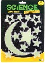 Glow in the dark sterren/maan geel 13 stuks