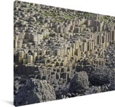 Duidelijke foto van heel veel stenen van de Giants Causeway Canvas 90x60 cm - Foto print op Canvas schilderij (Wanddecoratie woonkamer / slaapkamer)