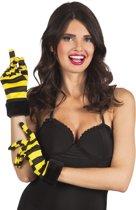 Korte handschoenen met bijen print voor vrouwen - Verkleedattribuut