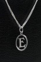 Zilveren Letter E ketting hanger - rond