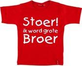 T-shirt  Stoer! Ik word grote broer maat 98/104   rood