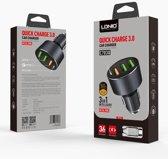 Ldnio C703Q  Autolader 3.6A USB Snelle Auto oplader 3 poorten Met Type C kabel OplaadKabel - geschikt voor o.a Nokia 6 6.1 7 7.1 Plus 8 9