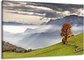 Canvas schilderij Bergen | Grijs, Wit, Groen | 140x90cm 1Luik