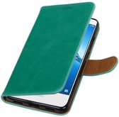 Wicked Narwal | Premium PU Leder bookstyle / book case/ wallet case voor Huawei Y7 / Y7 Prieme Groen