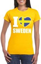 Geel I love Zweden fan shirt dames XS