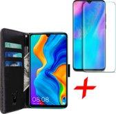 iCall - Huawei P30 Lite Hoesje + Screenprotector Tempered Glass - Lederen TPU Book Case Portemonnee Flip Wallet - Zwart