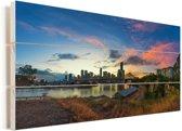 De kleurrijke lucht boven de Australische stad Brisbane Vurenhout met planken 80x40 cm - Foto print op Hout (Wanddecoratie)