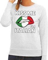 Kiss me I am Italian sweater grijs dames M