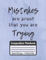 Mistakes Are Proof That You Are Trying: Inspiration Journal Perfect Motivational Gift For Students / College Ruled paper