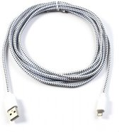 3 meter Stoffen cq Nylon Lightning kabel, apple lightning laadkabel, extra sterk gevlochten, wit , merk i12Cover