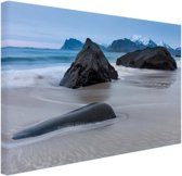 Zandstrand Canvas 60x40 cm - Foto print op Canvas schilderij (Wanddecoratie)