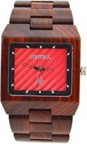 Bewell schakelband horloge van rood sandelhout - H072