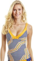 Cabana Life UV Tankini top Dames Orange Drive - Blauw/Oranje - Maat 44 (XL)