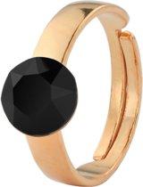 ARLIZI 1308 Ring Swarovski Kristal - Dames - 925 Zilver Roséverguld - 8 mm - Zwart