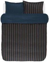 Marc O'Polo dekbedovertrek Classic Stripe marine/earth brown - extra kussensloop (60x70 cm)