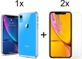iPhone XR Siliconen Hoesje - 2 x Tempered Glass Screenprotector - Transparant