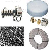 Set vloerverwarming tot 60 M2 - Compact verdeler 5 groepen - compleet geleverd met noppenplaat