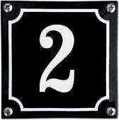 Zwart emaille huisnummer  - 2