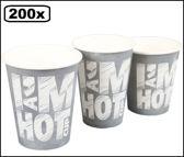 200x Koffiebeker I am Hot chalk 180cc grijs