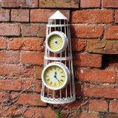 Vuurtoren met klok en thermometer