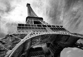 Fotobehang Paris Eiffel Tower Black White | XXL - 206cm x 275cm | 130g/m2 Vlies