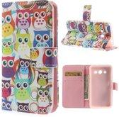 Samsung Galaxy Core 2 Wallet Stand Case Cartoon Owls