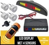 Parkeersensoren Set Met Geluid EN Display | Parkeerhulp | Uiteruitrij Sensoren | 4 Sensoren | Geluids & Visuele Waarschuwing | Plug & Play | Inclusief Boor | ZILVER