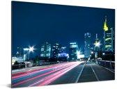 Kleurrijke nachtfoto van Frankfurt am Main in Duitsland Aluminium 160x120 cm - Foto print op Aluminium (metaal wanddecoratie) XXL / Groot formaat!