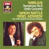 Sibelius: Symphony no 5, Violin Concerto / Rattle, Kennedy, CBSO