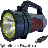 LED Zaklamp Oplaadbaar Grote Schijnwerper + Powerbank | Camping Zoeklicht Groot | Zoeklamp Handschijnwerper led | Oplaadbare Zaklantaarn Zaklampen | King Mungo KMSL001